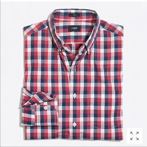 J Crew Gingham Slim Dit Button Down Red Blue Plaid